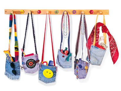 Bags for girls from the pockets of old jeans